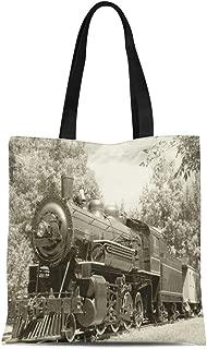 Semtomn Canvas Tote Bag Shoulder Bags Train Old Vintage Steam Engine in Sepia Railroad Fashioned Women's Handle Shoulder Tote Shopper Handbag