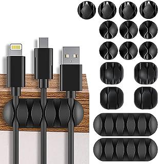 Cable Clips Support de Câble,Câble Organisateur Bureau Adhésif Attache-Câbles en Silicone Gestion des Cables Câble Rangeme...