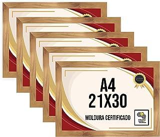 Kit 5 Porta Certificados 21x30 Moldura A4 para Certificado Foto Parede Mel