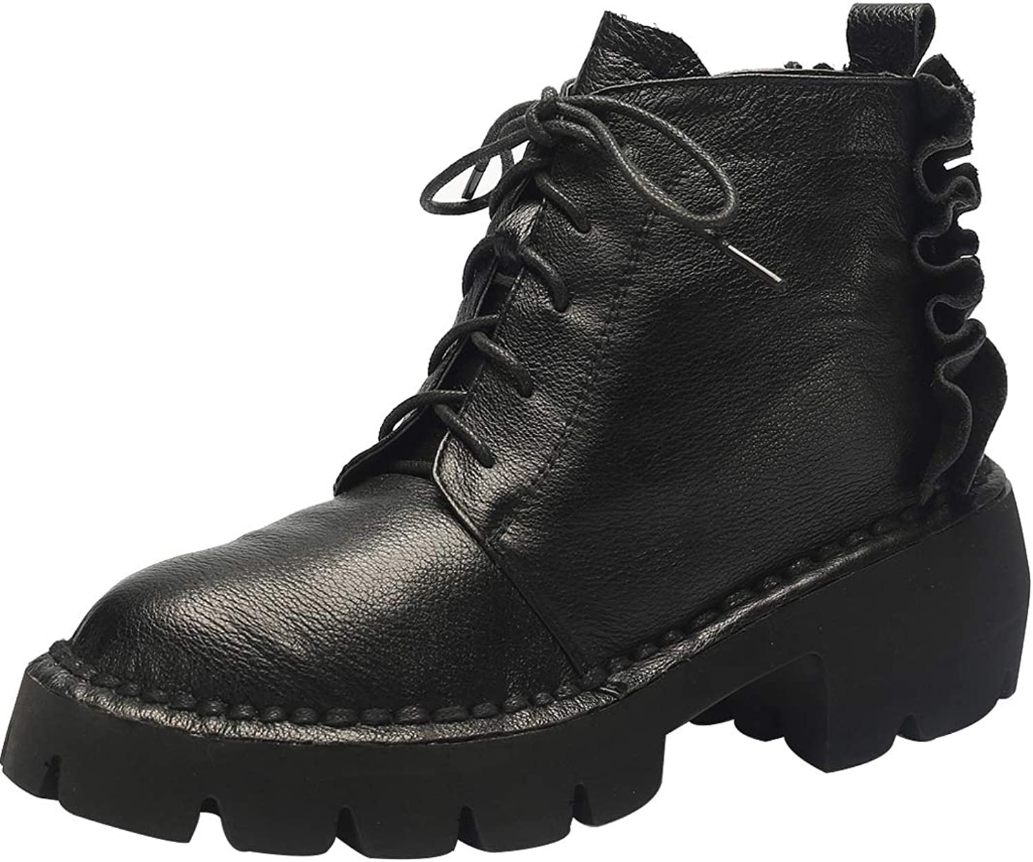 Jushee Womens Juannou 2 cm Low-Heel Ankle lace-up Nubuck Boots