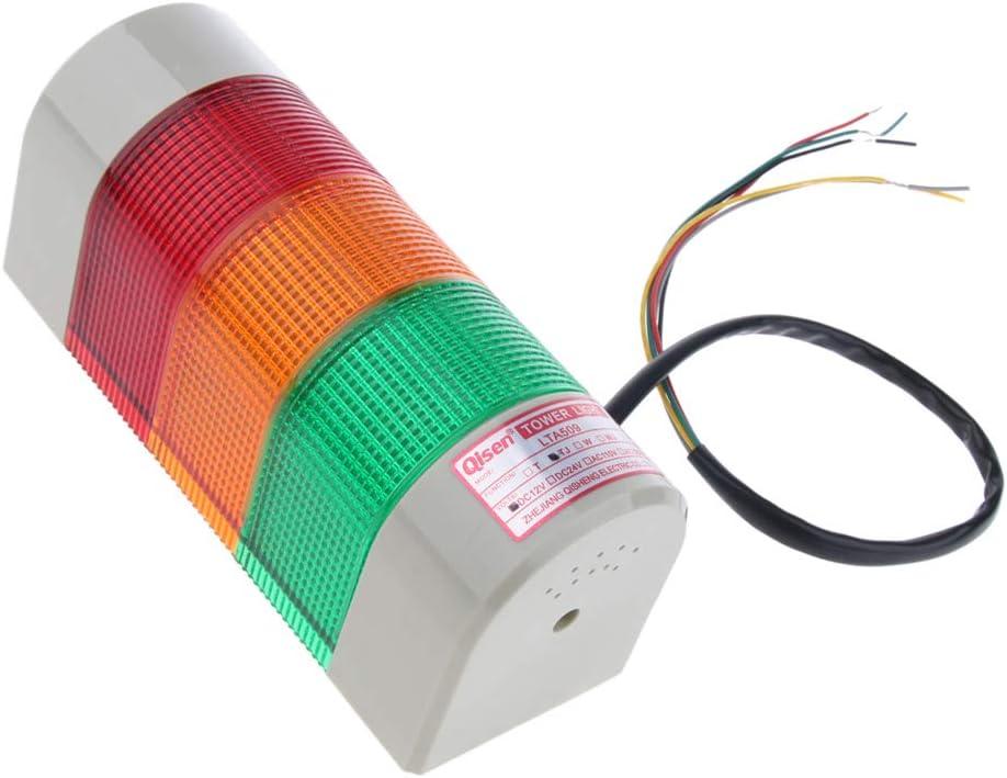 12V Sharplace Lampada Segnalazione Luminosa Di Emergenza a 3 Colori Con Segnale Acustico