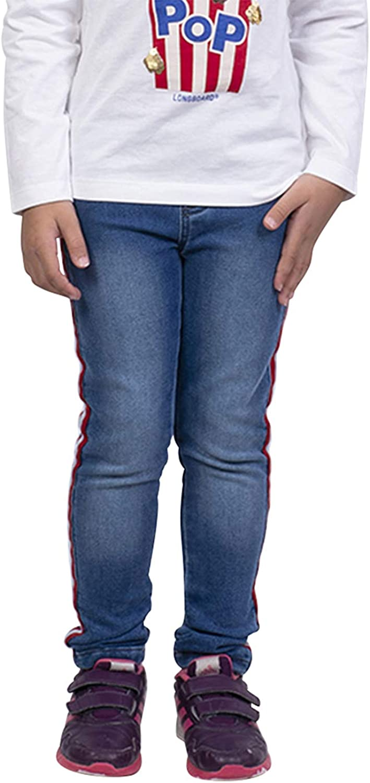 LongBoard Legging fille bleu denim bande lat/érale