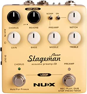 NUX Stageman Floor Acoustic Preamp/DI Pedal with Chorus, Reverb,Freeze and 60 seconds Loop for Acoustic Guitar,Violin,Mandolin,Banjo