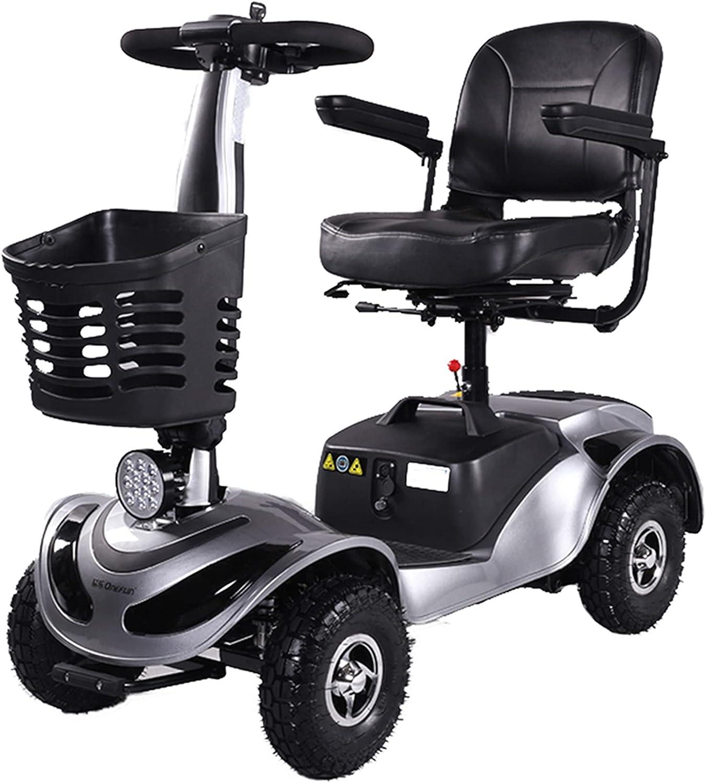 YX-ZD Scooters Movilidad De 4 Ruedas, Scooter Eléctrico Ligero para Ancianos/Discapacitados/Adultos, Scooter Viaje Plegable con Batería Litio Recargable, con Motor 24 V 400 W/Neumático 9