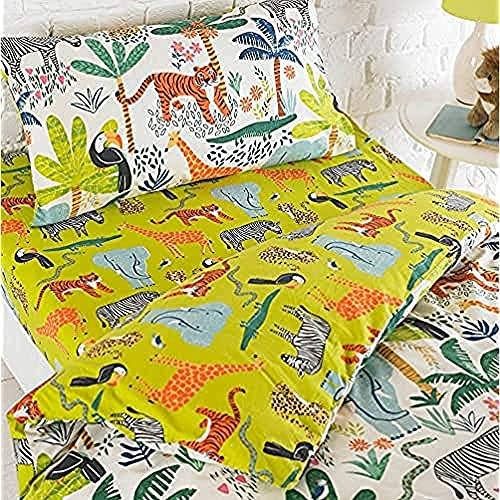 riva Paoletti Kids Jungletastic Fitted sheet-multicolour Jungle Animal design-elasticated bordi Machine washable-designed nel Regno Unito, in policotone, verde, bambino/Junior