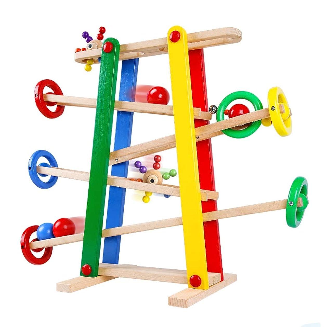 銃アミューズメントエイリアスXyanzi 子どもおもちゃ 木製のランプ、4ミニ車でランプレーサーゲームカラフルなウッドレーストラックランプ幼児のおもちゃ1 2歳男の子と女の子の贈り物