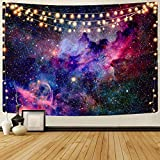 KYKU Galaxy Tapestry Wall Hanging Purple Outer Space Tapestry Cool Trippy Nebula Universe Tapestries for Bedroom Living Room Dorm Decor (W78.7' × H59.1', Purple)