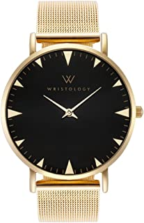WRISTOLOGY Stella Womens Gold Minimalist Black Wrist Watch Gold Metal Mesh Easy Change Band