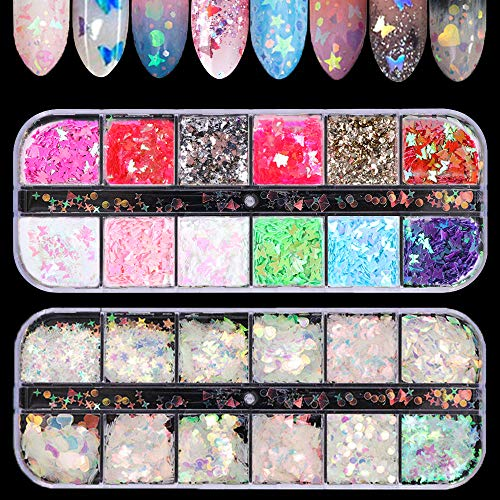 LYOUCI 12 Shaped Holographic Nail Stickers Iridescent Mermaid Flakes and 12 Color Butterfly Nail Art Stickers Sequins, Holographic Nail Sparkle Glitter for Nail Art Decoration(2 Boxes)