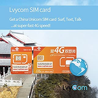 China SIM Card 6GB 4G LTE Data + 50 mins Local Calls or 100 Local Texts,! Free Incoming Calls and Texts