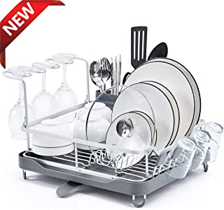 KINGRACK Aluminum Dish Rack, Dish Drying Rack with Anti-Rust Frame, Unique 360° Swivel Spout Drain Board Design, Cutlery Holder, Removable Wine Glass & Cup Holder for Kitchen Countertop, Grey