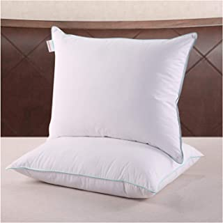 Homelike Moment Down Feather Pillows for Sleeping - 2 Pack Feather Bed Pillow Standard Size Pillows Set of 2 100% Cotton Fabirc 20x26 Inch