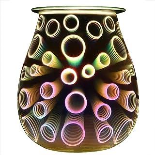 ノンスティック エッセンシャルオイルディフューザー3Dエフェクトエレクトリック香オイルウォーマーガラスワックスタルトバーナーフレグランスキャンドルワックスウォーマーナイトライトアロマ (Plug Type : B)