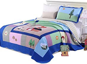 Cartoon Patchwork Throws Coverlets Blanket Child Quilts 100% Cotton Comfortable No Stimulation Single Quilted Bedspread (1...
