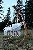DESIGN Hängesesselgestell Hängesessel aus Holz Lärche Modell: CATALINA komplett mit großem Stoffsessel von AS-S - 2