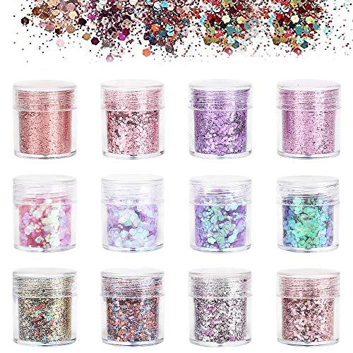 Nail Art Glitter, BicycleStore 12 Colors Nail Confetti Flakes Set 1mm 2mm 3mm Holographic Nail Sequins Powder for Acrylic Nails, Face Hair Body Make Up, DIY Crafting