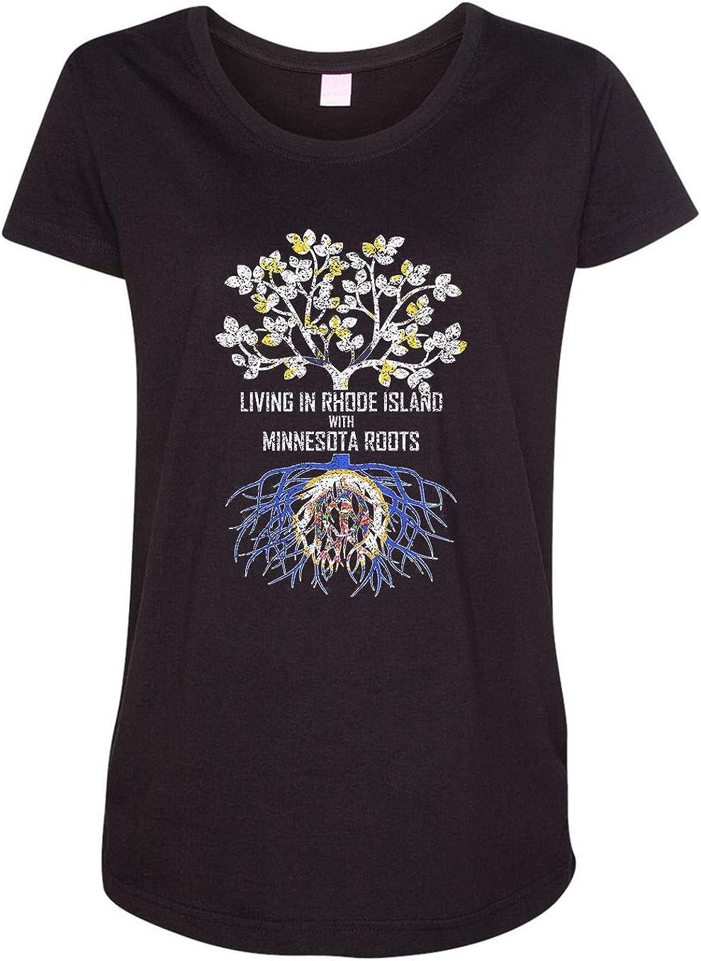 HARD EDGE DESIGN Women's Living in Rhode Island with Minnesota Roots T-Shirt