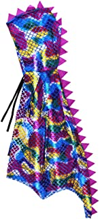 Attitude Studio Metallic Spike Cape, Hooded Scale Cloak, Dragon Dinosaur Medieval Accessory for Dress Up Pretend Play Fantasy Robe, 40 Inch One Size Halloween Costume for Kids Boys Girls - Rainbow