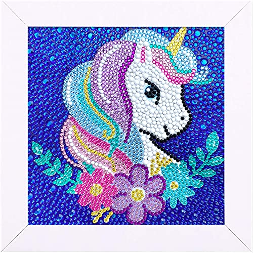 Craftoy 5D Diamond Painting Kits for Kids 7.1'' X 7.1'' Wooden Frame Diamond Arts and Crafts for Kids Mosaic Gem Stickers by Number Kits DIY Painting Arts Crafts Supply Set Embroidery Gift (F-Unicorn)