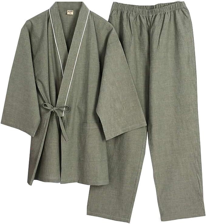 Elegante Estilo japonés de Manga Larga Trajes de algodón de algodón Kimono Pijama Traje Vestido Conjunto