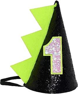 Maticr Glitter Dinosaur 1st Birthday Cone Hat Baby Boy Dinosaur Dragon Party Hat for Cake Smash First Birthday Party Supplies
