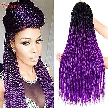 24 Inch Ombre Color Senegalese Crochet Hair Twist Crochet Braids Purple Ombre Color 30 Strands/Pack Jumbo Braids Brading Hair Senegalese Hair For Women  6 Packs/Lot,Black/Dark Purple