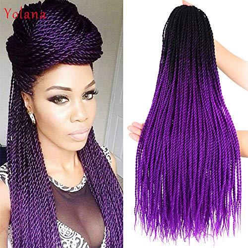 24 Inch 6 Packs Ombre Purple Color Mini Senegalese Twists Hair pre...