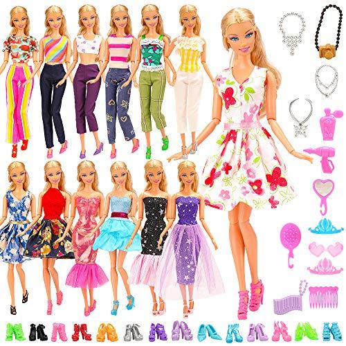 Barwa バービー人形用 服 バビー人形用 バービードール用 バービー着せ替え用 28枚セット=5枚ドレス+10足靴+10種類アクセサリー 1/6人形用 子供の日 クリスマスプレゼント