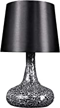 Simple Designs LT3039-BLK Mosaic Tiled Glass Genie Fabric Shade Table Lamp, Black