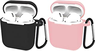 2 Pack Compatible with Airpods 1/2 Wire Charge Case, 360 Protective Silicone Airpods Accessories Kit with Keychain,Protective Thicken Cover Soft Silicone Chargeable Headphone Case-Black+Pink