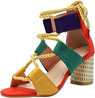 Vimisaoi Women's Fashion Strappy Sandals, Open Toe Block High Heels Cutout Gladiator Sandals Orange
