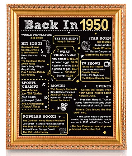 Geefuun 70th Birthday Gift Card 70 Year Old Party Decorations - 1950 Sign Wedding Anniversary Poster Decor for Women Men, with Gold Frame