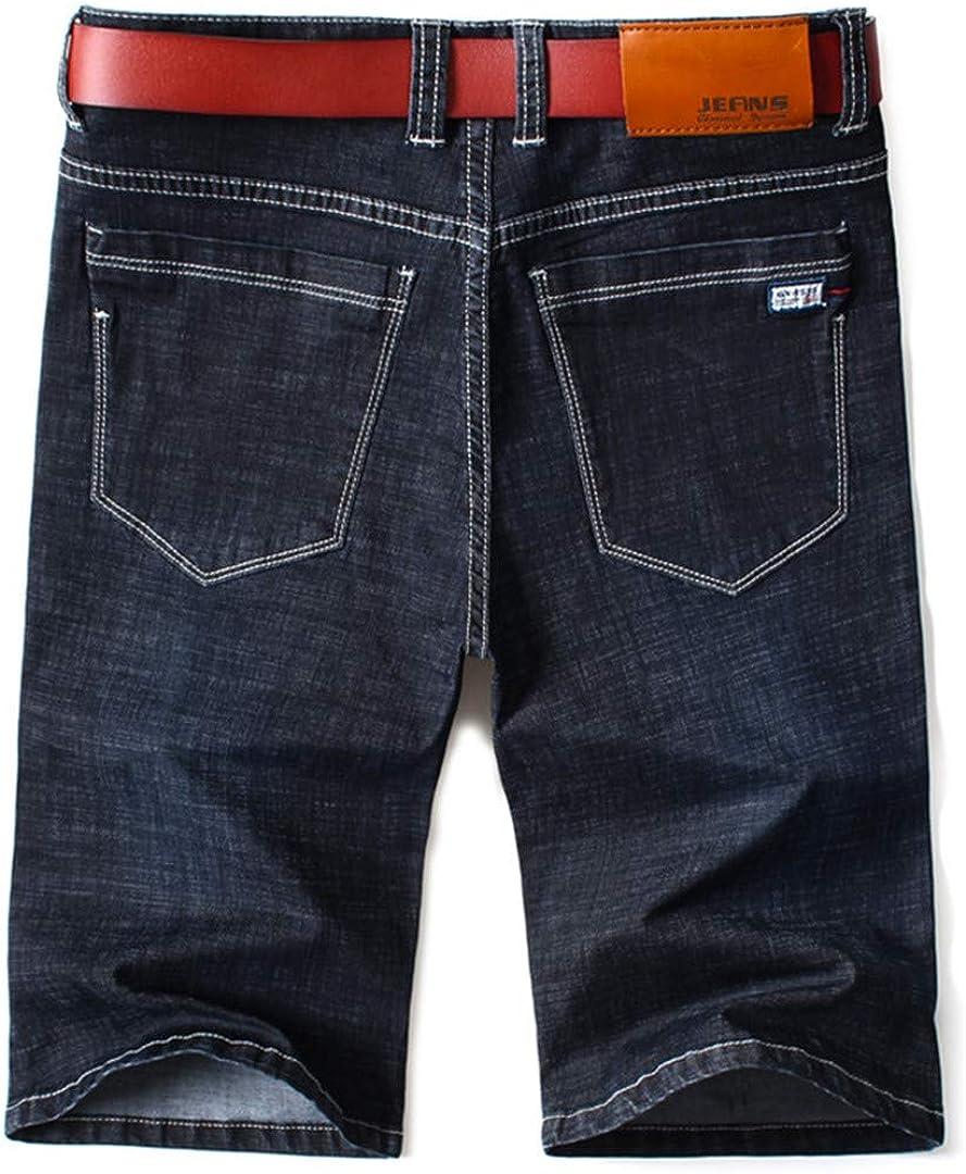 R-Hansets Men Slim Denim Shorts Business Stretch Black Blue Solid Color Short Jeans Black 44