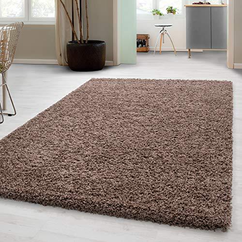 Hochflor Shaggy Teppich für Wohnzimmer Langflor Pflegeleicht Schadsstof geprüft 3 cm Florhöhe Oeko Tex Standarts Teppich, Maße:140x200 cm, Farbe:Mocca