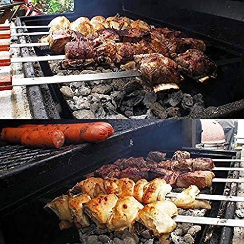 Jinqiuyuan 23.5in en Acier Inoxydable de BBQ Brochettes Grande Kabob brésilienne Brochette Heavy Duty Large Grill BBQ Fork Long Manche en Bois for BBQ (Color : 2pcs) 2pcs