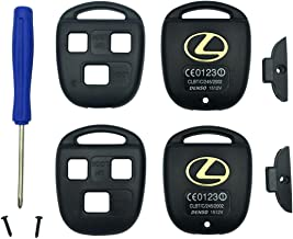 Replacement Keyless Entry Key Fob Case Fit Lexus ES GS GX IS LS LX RX SC Remote Control Key Combine 3 Buttons Replacement Car Key Shell Casing Blank Without Blade (Black pack 2)