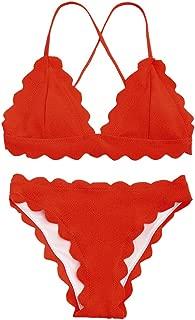 Women's Sexy Scalloped Criss-Cross Bikini Set Classic Triangle-Shaped Bottoms Swimsuits