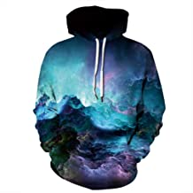 YDYG Unisex 3D Prints Pullover Jumpers Long Sleeve Galaxy Printed Sweatshirts Casual Hoodies with Pocket and Drawstring fo...