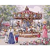 Aire de Jeux Cheval de Troie Peinture À l'huile par Numéros Mur Art Art Acrylique Huile Toile Peintures Décor À La Maison pour Le Salon 40x50 cm-No Frame