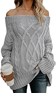 Mikey Store Women's Sexy Long Sleeve Off Shoulder Knit Sweater Pullover