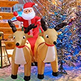 Milu deer Papá Noel Inflable De Navidad, Papá Noel Inflable De Navidad con Iluminación LED En Trineo con Renos, para La Temporada Navideña, Patio Al Aire Libre