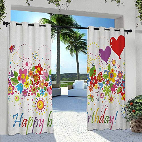 Outdoor Waterproof Curtain Happy Celebration on Colorful Flourishing Meadow Heart Shaped Balloons Art Print Home Fashion Window Panel Drapes Pleasing to The Eye, Durable Multicolor W96 x L84 Inch