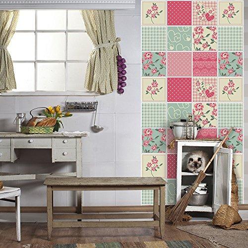 32 piezas Azulejo adhesivo 15x15 cm PS00043 Mosaico de Azulejos Adhesivo de pared Adhesivo decorativo para azulejos de cemento para baño y cocina Adhesivos de cemento pelar y pegar