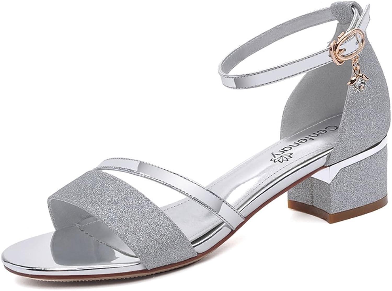 Lady,Summer,Chunky Heel Sandals Fashion,Kitten Heels