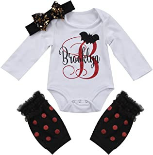 gllive Baby Girls' 3Pcs Outfits Set Bat Letter Printed Bodysuit Romper +Headband+Leg Warmer