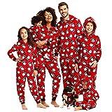 Geagodelia - Pijama de Navidad con capucha, estampado de Papá Noel, para familia y Navidad, para madres y papás Rosso Neonato 6 mes
