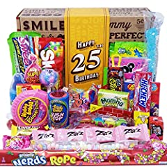 THE ORIGINAL VINTAGE CANDY CO. 25TH BIRTHDAY GIFT FOR MEN AND WOMEN THE PERFECT CANDY GIFT FOR HIM OR HER. Whether You're shopping for a man or woman, our Nostalgia Birthday Candy Gift Box makes an excellent (And dare we say.. PERFECT) gift for men o...