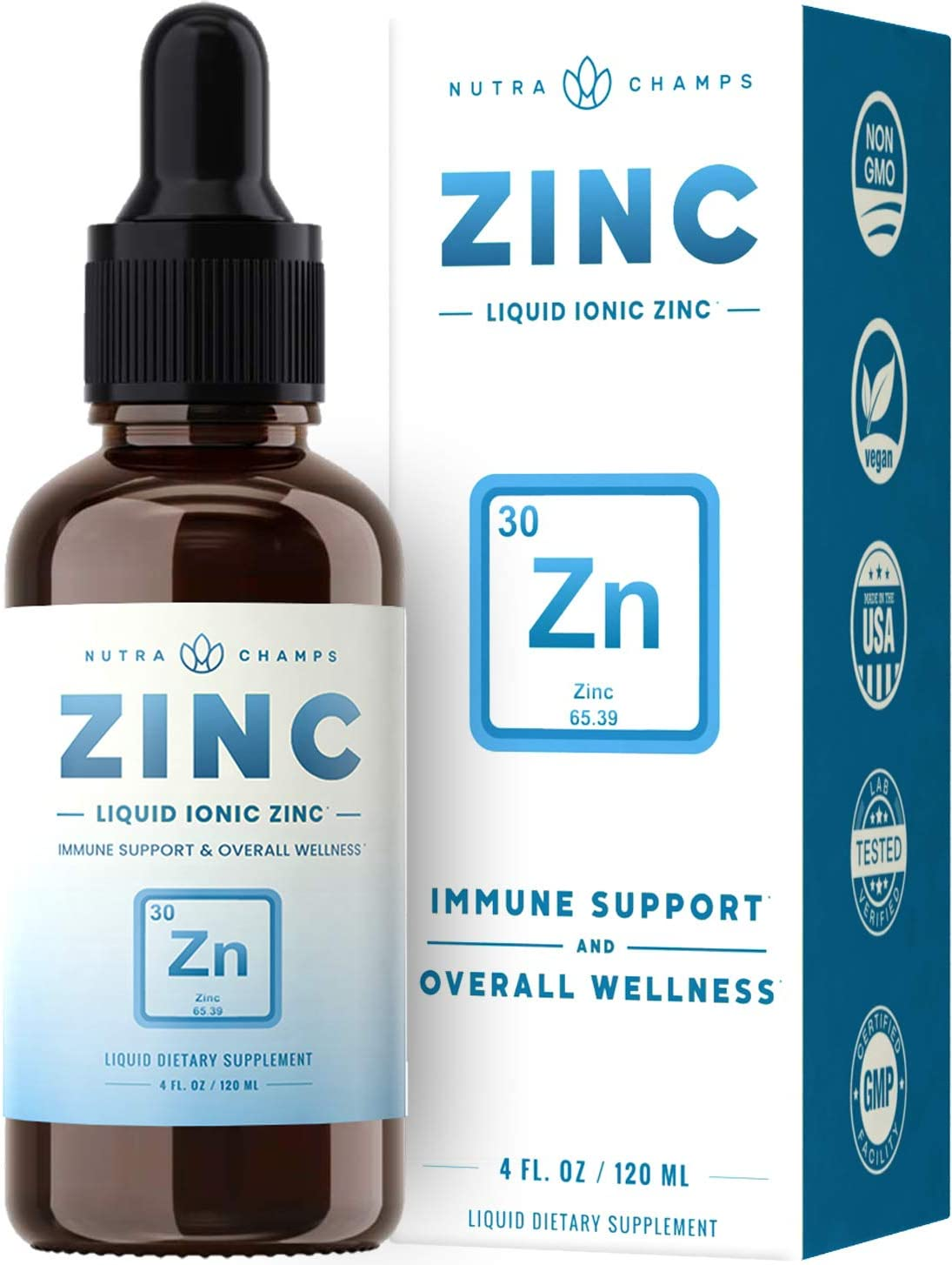 Organic Zinc Sulfate Liquid Supplement - Immune Support System Boost - Pure Ionic Concentrated Mineral Drops for Men, Women & Kids Enhanced with Vitamin C - 4 oz Great Tasting Defense Booster: Health & Personal Care