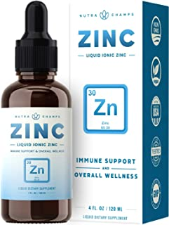 Organic Zinc Sulfate Liquid Supplement - Immune Support System Boost - Pure Ionic Concentrated Mineral Drops for Men, Wome...
