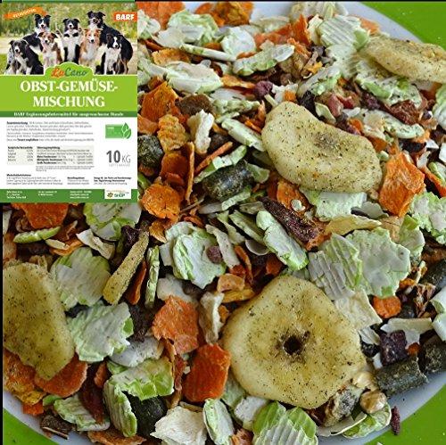 LuCano 10 kg Hunde Barf Ergänzungsfutter Obst + Gemüse Flocken mit Kräutern | glutenfrei - getreidefrei